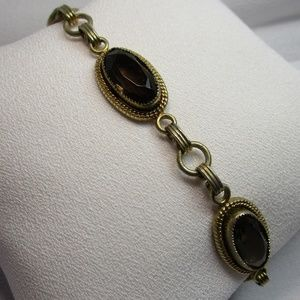 Vintage 70's Smoky Topaz Antique Goldtone Bracelet